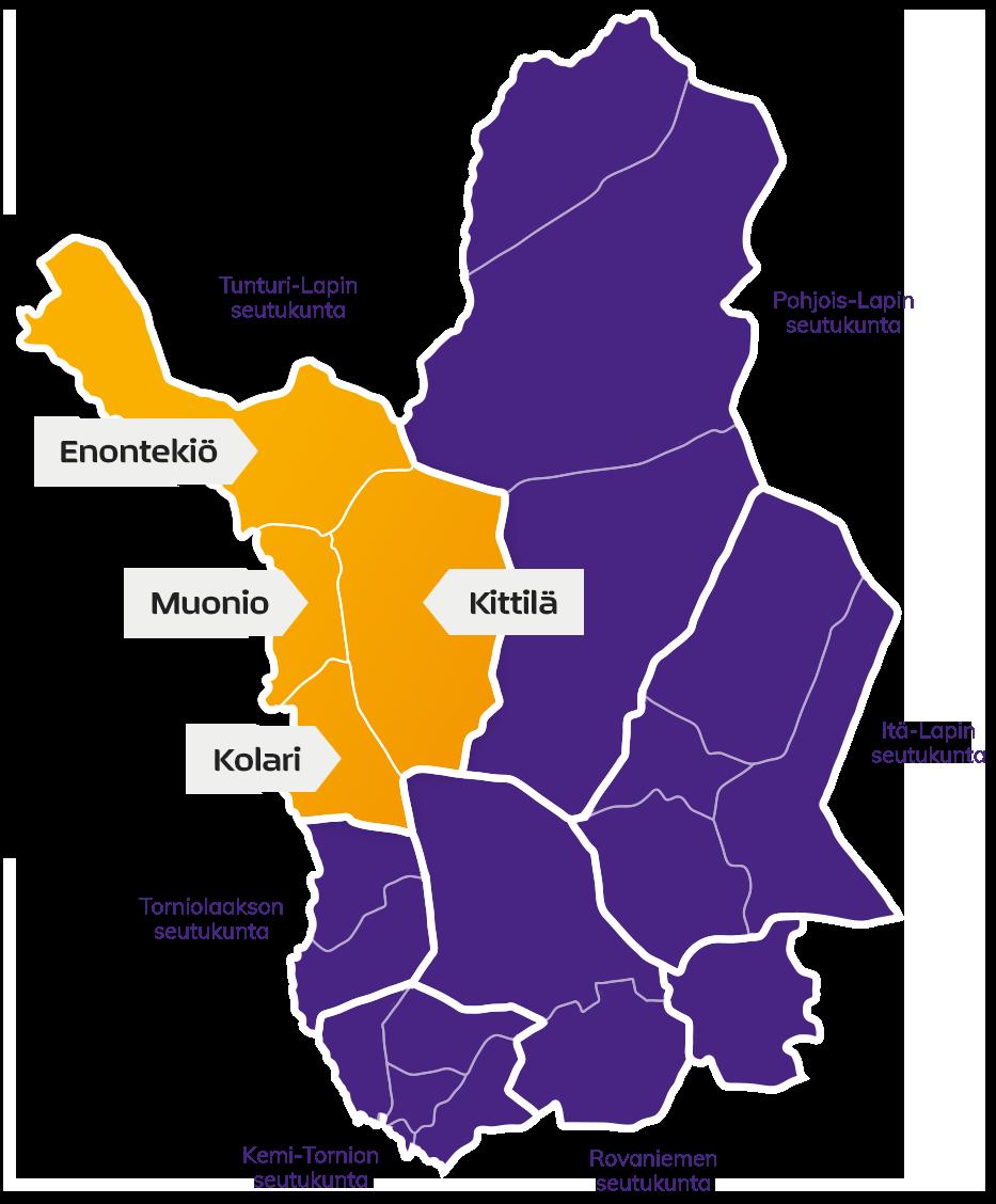 Lapin kartta, jossa Tunturi-Lapin seutukunta on erivärillä